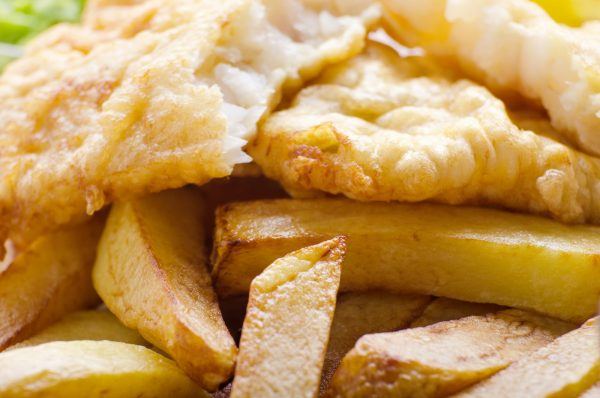 Traditional British street food fish and chips